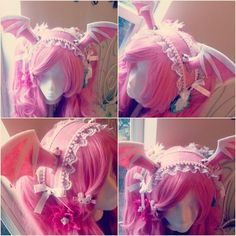 Demon Horn Maid Headband by NoFlutter on DeviantArt Harajuku Fashion, Kawaii Fashion, Lolita Fashion, Cute Fashion, Cosplay Outfits, Cosplay Wigs, Fascinator, Headpiece, Looks Kawaii