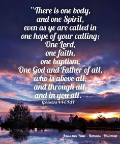 """""""There is one body,  and one Spirit,  even as ye are called in one hope of your calling;  One Lord,  one faith,  one baptism,  One God and Father of all,  who is above all,  and through all,  and in you all."""" Ephesians 4:4-6 KJV  Grace and peace in Christ!"""