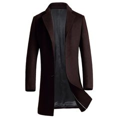 $37.30 Casual Single Breasted Turndown Collar Woolen Blend Coat - Wine Red 3xl