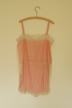 **KAREN LIKES** vintage 1920s lingerie / 20s pink lace step-in chemise / size large xl - $110 - would fit Karen