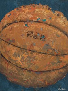 Vintage Basketball Canvas Reproduction in Blue