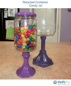 This short video shows you the steps to turning a jar into a beautiful vintage looking candy jar.