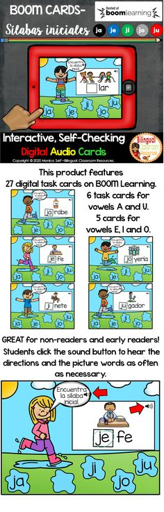 This Boom Deck has 27 paperless, NO PREP, drag and drop digital task cards WITH SOUND. This deck will allow your students to practice identifying the beginning syllable sounds with the letter j (ja, je, ji, jo and ju). This deck is PERFECT for non-readers and early readers since it includes SOUND. #Sílabasconjajejijoju#actividadesconlassilabasjajejijoju#boomcardsenespañol#kinderliteracycentersspanish#centrosdelecturakinder#centrosdelecturaprimergrado#escuelaencasapreescolar#escuelaencasa Elementary Teacher, Elementary Education, Learning Centers, Learning Resources, Teaching Spanish, Learn Spanish, Spanish Class, Creative Teaching, Teaching Ideas