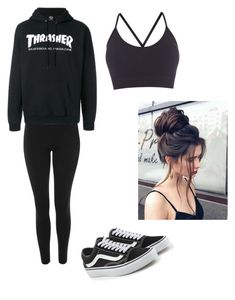 """Untitled #112"" by haileymagana on Polyvore featuring Topshop, Vans and Pepper & Mayne"