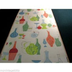 50's Iconic Mid Century Modern Vintage Wallpaper Atomic Space Age 60's Pottery |