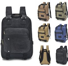Retro Travel Men Canvas Backpack Students Sports Sack Knapsack Bag Women Package #Unbranded