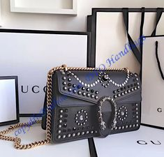 16fcdc8163 Gucci Dionysus Studded Medium Shoulder Bag in black leather