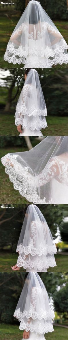 2017 New Arrival 2 Layers Sequins Lace Edge Short Woodland Wedding Veils with Comb 2 T White Ivory Tulle Bridal Veils