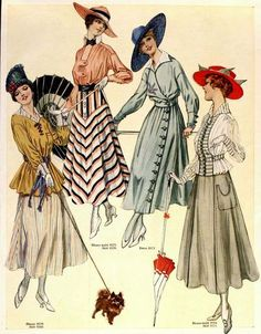 August 1916 Fashion Plate ~ The Delineator 1918 Fashion, Edwardian Fashion, Fashion History, Retro Fashion, Vintage Fashion, Edwardian Era, Historical Costume, Historical Clothing, Vintage Dresses