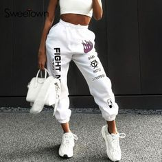 New OFF-WHITE Graffiti print Trousers Student Couple Hip Hop Sports Trousers