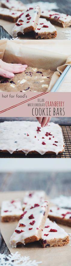#vegan white chocolate cranberry cookie bars #christmascookies   RECIPE on hotforfoodblog.com