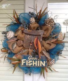Gone Fishing Burlap and Mesh Wreath on Etsy, $145.00