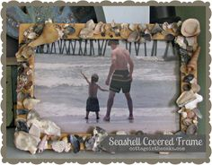 seashell crafts    Seashell covered frame