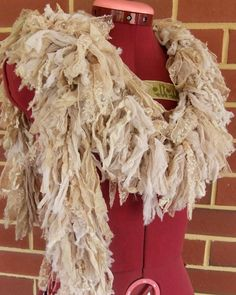 Recycled Silk Lace Cotton Boa Boho Scarf Hand Crocheted Scarf