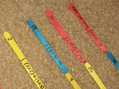 Use the idea for these order of operations dominoes and simplify it to a different fourth grade math skill. Turn popsicle sticks into domino pieces where children have to match up problems and correct answers.