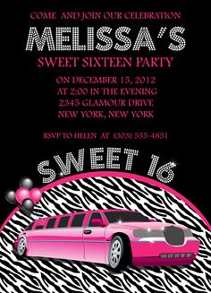 Sweet 16 limo invitation limo sweet 16 and birthdays sweet sixteen limo party bing images stopboris Images