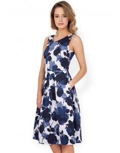 Closet Navy Rose Print V-Neck Dress