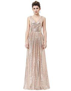 4df35e3930b6 Amazon.com  Kate Kasin Women Sequined Bridesmaid Dress Sleeveless Prom  Banquet Evening Dresses Long KK199  Clothing. Cocktail Sleeveless Deep V  neck ...