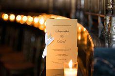 Samantha %26 David's Wedding Program Photography: Images by Berit, Inc. Read More: http://www.insideweddings.com/weddings/gatsby-inspired-jewish-wedding-with-purple-gold-decor-in-new-york/720/