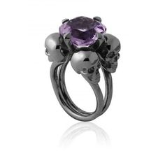 Purple skull engagement ring