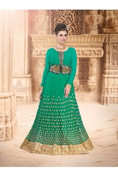 Exclusive & Morden Glorious Green Unstitched Indo Western