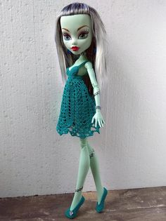 17 inch Monster High doll clothes. Pine Green Crochet Dress