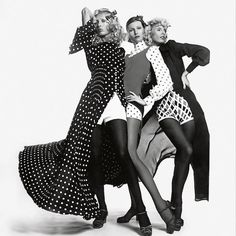 A trio in black & white. Chris Von Wangerheim shoots models wearing the Haute Couture Spring/Summer 1971 collection. #OneDressADay
