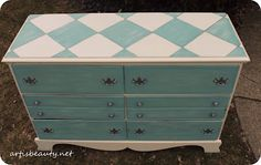 #artisbeauty.net  my Hand painted Homemade chalk paint Krink paint pen Harlequin dresser