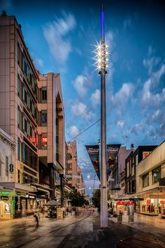 The Rundle Mall catenary lighting system by Ronstan Tensile Architecture in Adelaide, Australia put some finishing touches on a long-term renovation of a historic public space and pedestrian mall. Rundle Mall Adelaide, Architectural Engineering, Light Installation, Lighting System, Pedestrian, Beautiful Architecture, Cn Tower, Constellations, North America