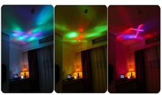 Color: white, blue, red Material: ABS + PS +Electronic Element Projection Lamp: 14.5 x 14 x 12cm Power Source : USB rechargeable(USB cable included) Features: Projects LED lights and laser turning your ceiling into universe. 8 modes of lighting effects. Built-in speaker for 3.5mm audio devices, such as MP3, MP4, mobile phones, etc (3.5mm cable included).