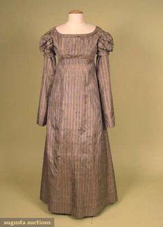 Gown: ca. 1810, striped silk taffeta, bodice and sleeves lined with cotton.  Augusta Auctions, May 2008 Vintage Fashion & Antique Textile Sale, Lot 653
