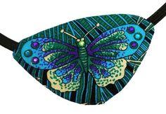 Butterfly Eye Patch Blue Green Victorian by JenkittysCloset