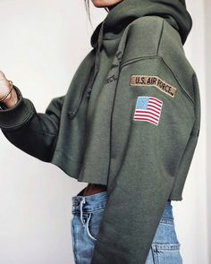 Top: green tumblr cropped hoodie hoodie crop s denim jeans blue jeans olive green army green 90s