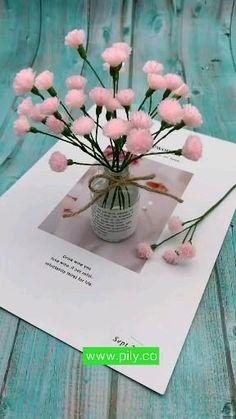 Paper Flowers Craft, Diy Flowers, Fabric Flowers, Paper Origami Flowers, Origami Flowers Tutorial, Paper Crafts, Diy Crafts Hacks, Diy Crafts For Gifts, Woolen Flower