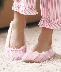 Knit Faux Fur Lined Ballet Slippers  $5.95 per pair