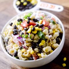 Mexican Macaroni Salad: pasta, black beans, tomatoes, corn, and salsa on in one pasta salad!