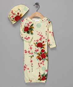 Take a look at this Yellow Vintage Floral Gown & Beanie - Infant by Mad Sky on #zulily today!