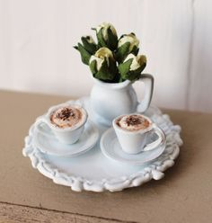 Dolls House Miniature Cappuccino Coffee Cafe Set by Artistique on Etsy