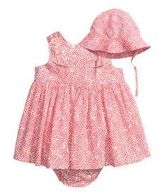 Dress and sun hat | White/Coral | Kids | H&M AU