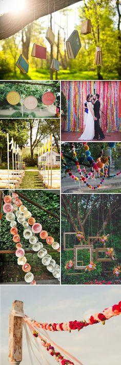 Guirnaldas garlands DIY Something Different - Alternatives to Bunting Decor Ideas Wedding Bunting, Wedding Flowers, Outdoor Wedding Reception, Wedding Venues, Wedding Sets, Dream Wedding, We Are Festival, Rainbow Wedding, Ceremony Decorations