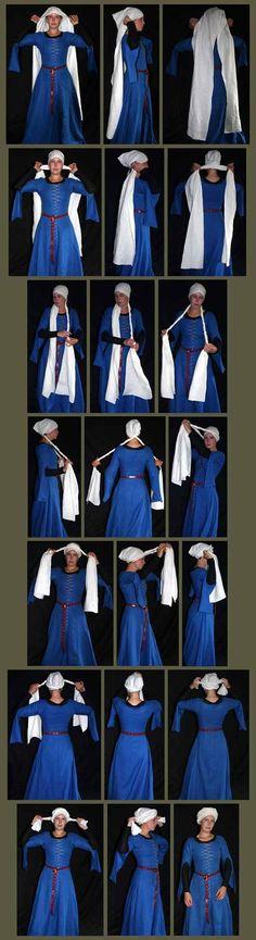 Medieval Clothing and Footwear- Century Women's Turban Женский тюрбан Medieval Costume, Medieval Dress, Medieval Hats, Medieval Fashion, Medieval Clothing, Historical Costume, Historical Clothing, Historical Photos, Costumes Faciles