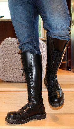 """Mens 17"""" Tall Black Gripfast Steampunk Grunge Rock 20 Hole Lace Boots US 10D-11D #Gripfast #Steampunk"""