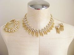 Vintage Jewelry Sarah Coventry Royal Highness Parure Gold Leaf Pearl Rhinestone Necklace Bracelet Earrings
