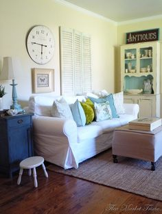 House of Turquoise: Flea Market Trixie - love the white armoire with turq background