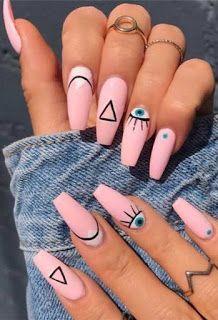 Matte Pink Nails, Blue Acrylic Nails, Summer Acrylic Nails, Acrylic Nail Designs, Summer Nails, Gel Nails, Coffin Nails, Glitter Nails, Pastel Nail