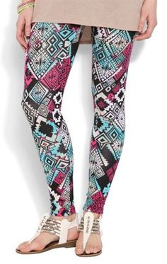 Tribal Print Legging with Jade and Magenta