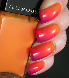 Summery diagonal gradient manicure featuring Illamasqua Insanity, Alarm and Stance