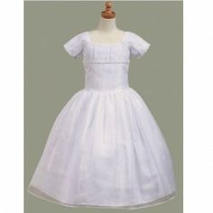 A charming dress for your little girl's First Communion from Lito. This dress has a renaissance flare with its satin and pearl accent and so...