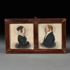James Sanford Ellsworth (American, Pair of Husband and Wife Portrait Miniatures. Miniature Portraits, Old Paintings, Tiny Treasures, Flower Basket, Watercolor And Ink, Art For Sale, Folk Art, Art Decor, Fine Art Prints