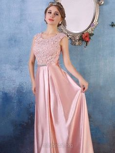 A-line Scoop Neck Satin Tulle Floor-length Appliques Lace Fabulous Prom Dresses Indian Gowns Dresses, Pink Prom Dresses, Prom Dresses Online, Cheap Prom Dresses, Bridesmaid Dresses, Wedding Dresses, Mehndi Dress, Satin Tulle, Maternity Dresses
